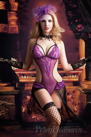 Voilet Erotic Foreplay Lace Teddy with Stocking