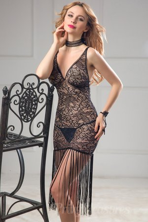 Fashion Women Black Fringe Sexy Babydoll
