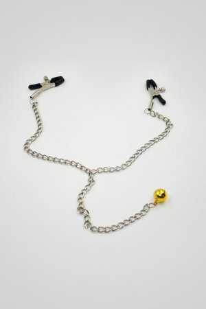 Black Nipple Clamps With Chain And Bell