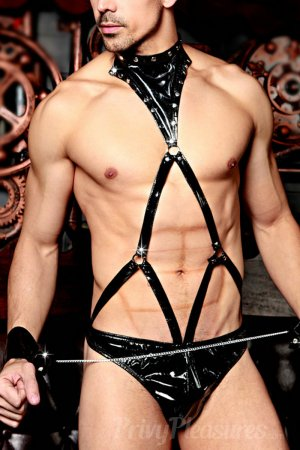 Mens Wetlook Strap Harness with Attached Panty