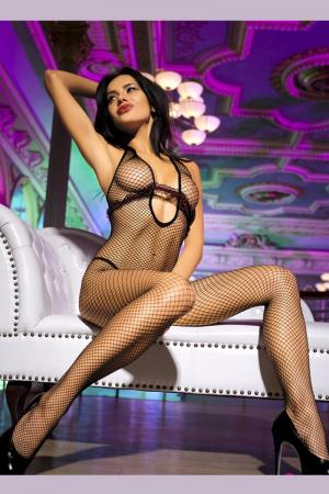 Sexy fishnet bodystockings with ruffled trim