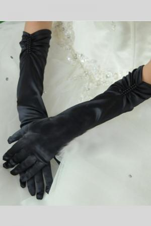 Black Pearl Satin Women Gloves