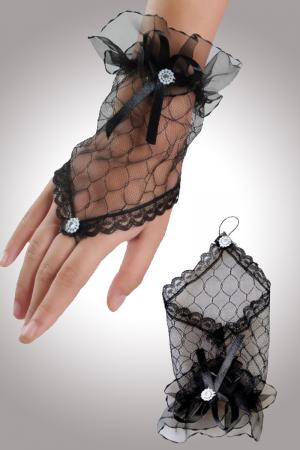 Black Hot Transparent Fingerless Elbow Short Gloves