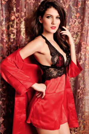 2PC Seduce Slip Satin Sleepwear Red