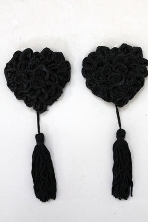 Sweetheart Rose Pasties - Black