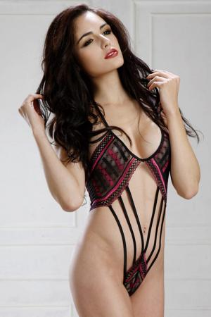 Feisty Two Tone Lace Halter Strappy Teddy