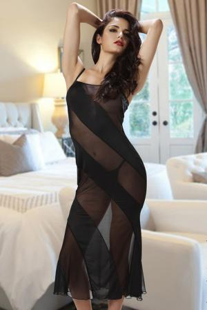 Sheer Mesh Stripes Long Dresses Night Gown