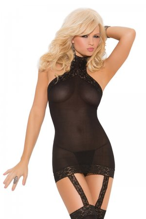 Opaque Dress with lace trim & Stockings