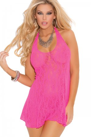Neon Pink Lace halter mini dress Plus Size