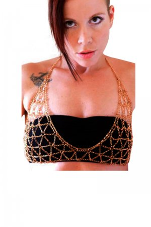 Gold Halter Bra Cover Sexy Body Chain