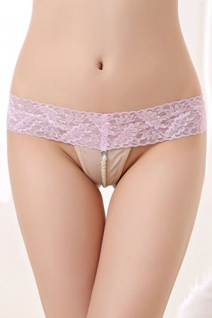 Pink Sheer Lace Waistband Pearl G-string