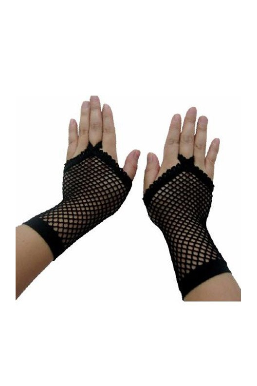 Buy Black Fishnet Adult Gloves Online in India