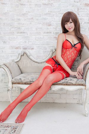 Red Bustle-back Chemise - with Stockings