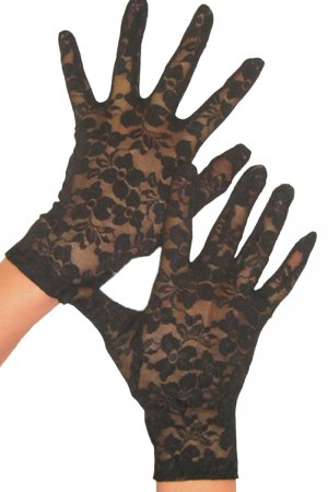 Black Sexy stretch wrist length lace gloves
