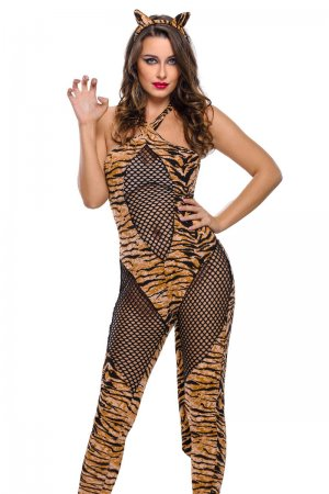 2pcs Adult Tiger Kitty Cosplay Halloween Costume