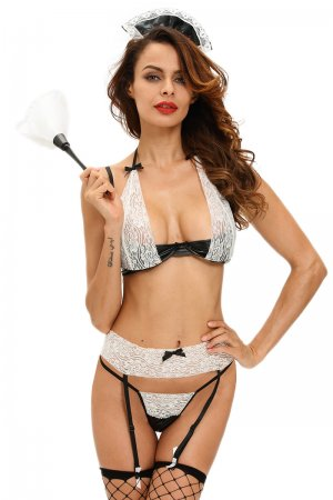4pcs Wet Look French Maid Lingerie Costume