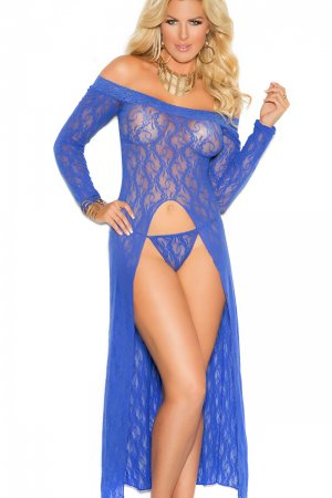 Elegant Long Sleeve Lace Gown With Front Slit- Plus Size
