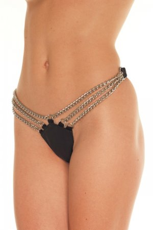 Wet Look G-string With Chain Detail