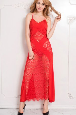 Valentine Red Lace Maxi Dress