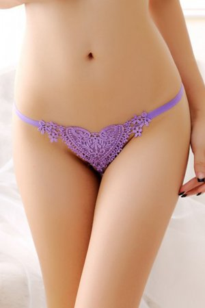 Lovender Sweet Lace Heart Pearl G-string