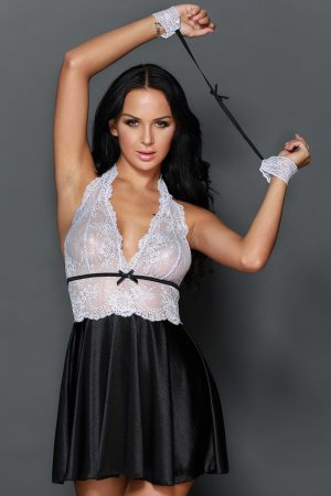 Black Sheer Lace Bodice 3pcs Satin Flare Babydoll