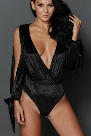 Black Faux Wrap Cut Out Sleeves Bodysuit
