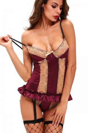Gold Lace Detail Purple Satin Bustier Lingerie Set