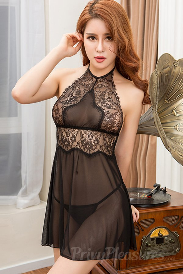 Black Sexy Babydoll with Halter neck