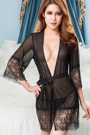 Sheer Mesh And Eyelash Lace Robe Panty Set