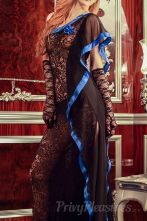 Black Sheer Lace Maxi Dress with Hand Gloves