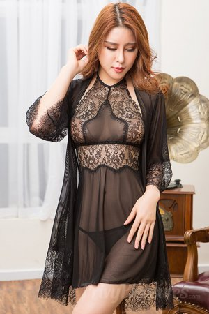 Black Three-Piece Sheer Babydoll Sexy Nighty
