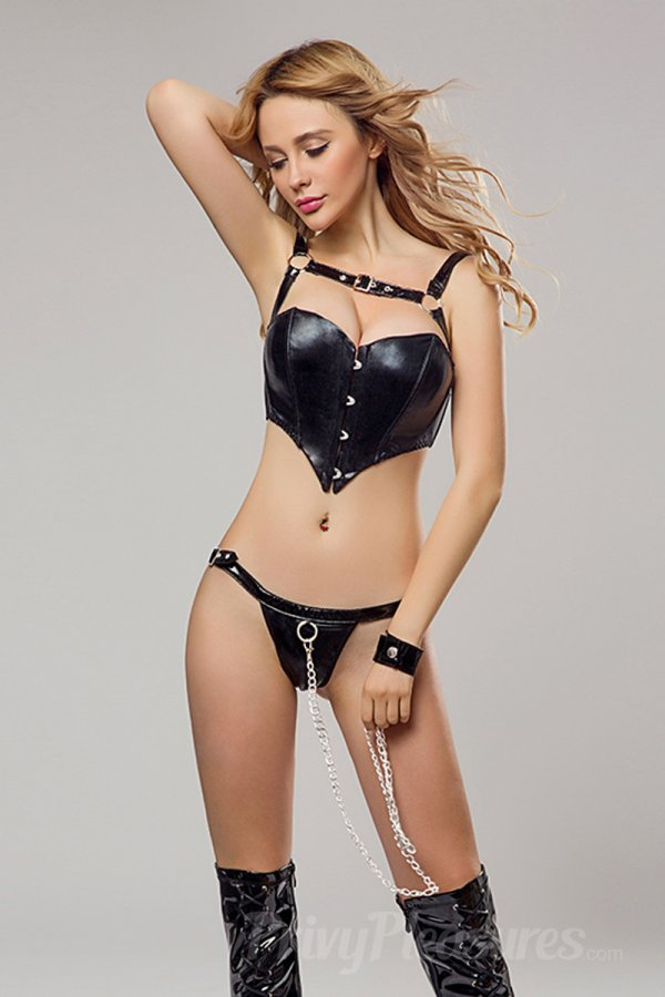 Wet Look Erotic Leather Bra Set