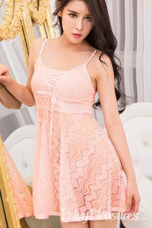 Peach Pink Lacy Sleepwear Babydoll