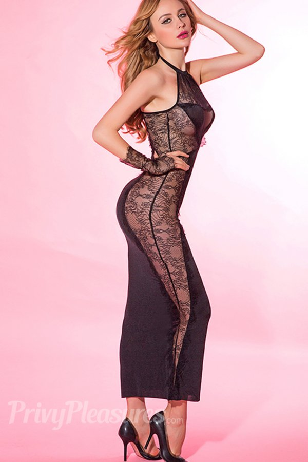 Black Sexy Maxi Dress with Lace Splicing