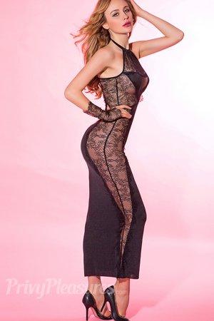 Black Lace Splicing Maxi Evening Dress