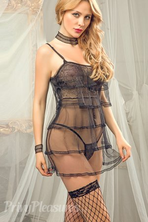 Black Sensual Frilly Style Babydoll - Full Set