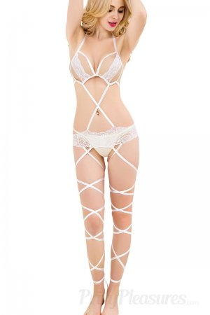 Lace Cage Strap Wedding Night Teddy Nightwear White