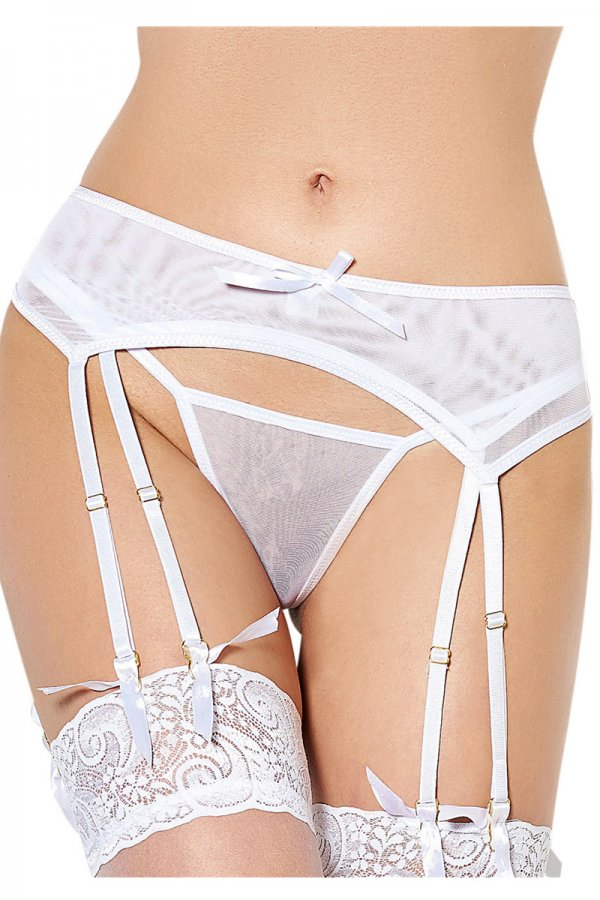 White Double Layered Mesh Garter Belt with Thong