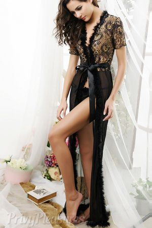 Black Glam Night Robe with Fur Trim