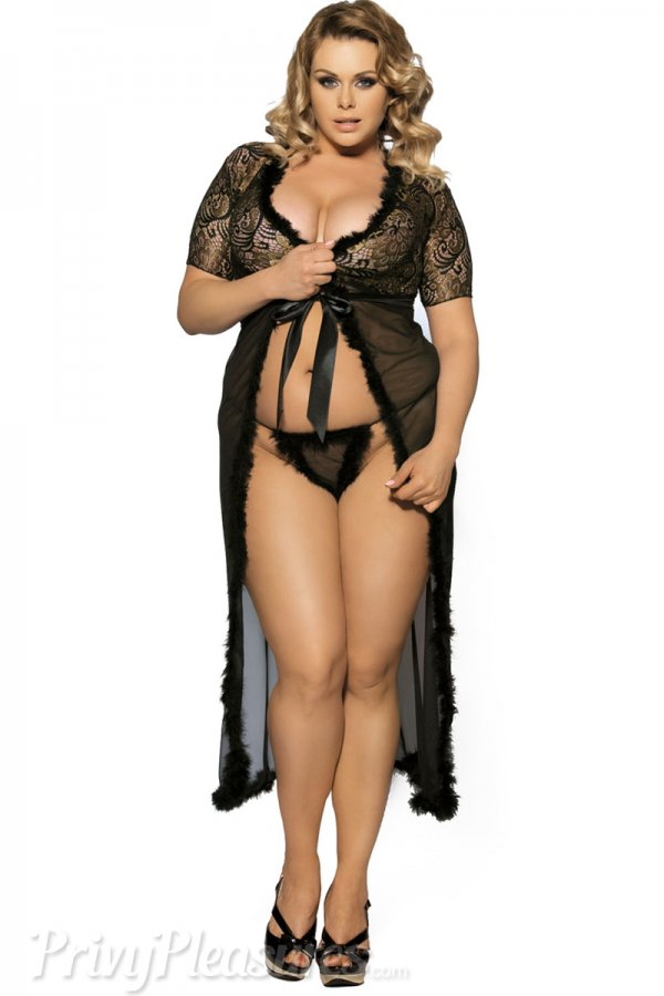 Black Glam Night Robe with Fur Trim - Plus Size