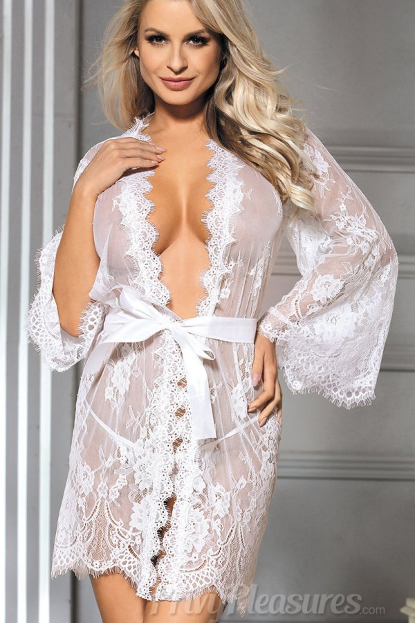 Eyelash White Lace Sleepwear Gown