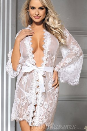 Eyelash White Lace Sleepwear Robe
