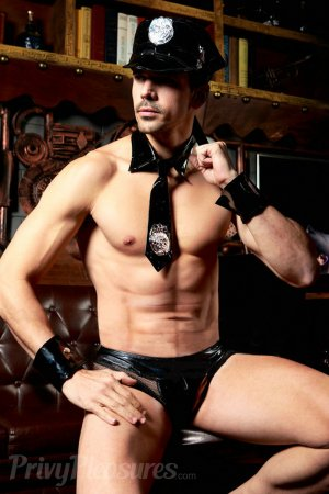 Wet Black Police Costume For Men