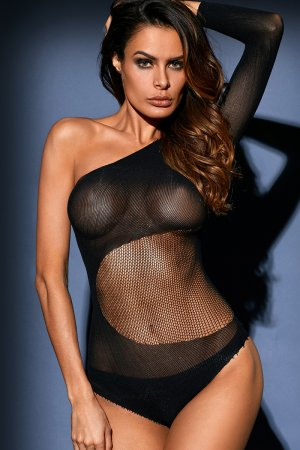 Black Sheer Mesh One Shoulder Long Sleeve Bodysuit