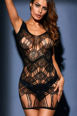 Black Strappy Paisley Lace Chemise Dress Lingerie