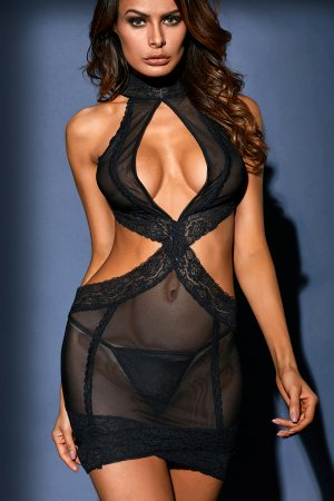Black Lace Halter Neck Chemise
