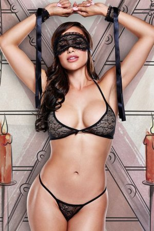 Sexy Black Lace Bra Panty Set with Eyemask and Cuffs