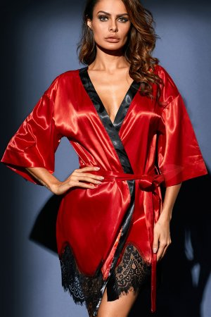 Red Luxurious Satin Robe Nightwear
