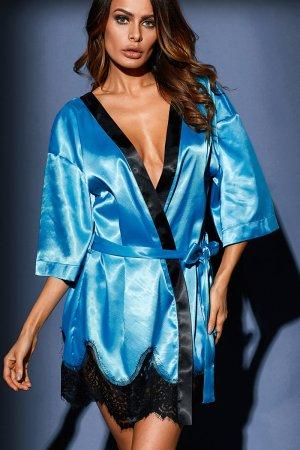 Turquoise Luxurious Satin Robe Nightwear