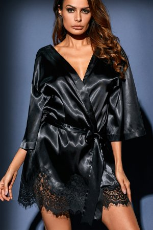 Black Luxurious Satin Robe Nightwear